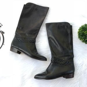 Etienne Aigner Black Leather Braided Riding Boots